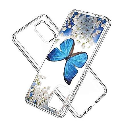 FAWUMAN Hülle für Samsung Galaxy A51,Durchsichtig Handyhülle Hybrid Rundumschutz (Hartplastik + Weich TPU Silikon Bumper) Ultradünne Stoßfest Schutzhülle Transparent Cover Case (Blauer Schmetterling)
