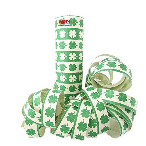 PARTY DISCOUNT Luftschlange Kleeblatt, grün-weiß, 1 Rolle - Luftschlangen Grüne