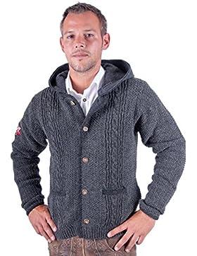 Almwerk Herren Strickjacke Toni mit abnehmbarer Kapuze in braun, grau und anthrazit