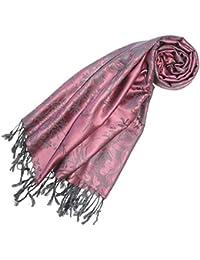 LORENZO CANA Designer Pashmina hochwertiger Marken Schal floral gewebtes Blumen Muster Damast Webart 70 x 180 cm Modal Schaltuch Schal Tuch Jacquard 93237