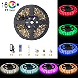 Smd 5050 Led lights strip 16 4 ft 5m RGB Colour Changing 300 LEDs Ip65 Waterproof with 12v Power Supply and 44 key Remote Control for Kitchen for Christmas Kitchen Wall Mirror Home Decoration Lighting