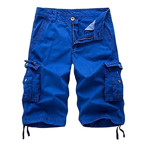 Aiserkly Herren Cargo Shorts Kurze Pure Color Arbeitshose mit Taschen Outdoorhose Freizeithose