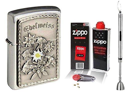 Zippo Feuerzeug EDELWEISS Emblem & Zippo Zubehör Wählbar + R-S Stabfeuerzeug Chrome (mit Zubehör L)