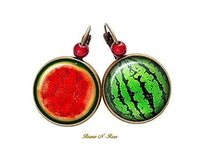 Boucles d'oreilles J'aime la Pastèque fruits vert et rouge cabochon bronze dormeuses
