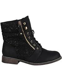 Stiefelparadies Damen Schnürstiefeletten Stiefeletten Worker Boots Kurzschaft-Stiefel Spitzenstoff Leder-Optik Schuhe Zipper Flandell