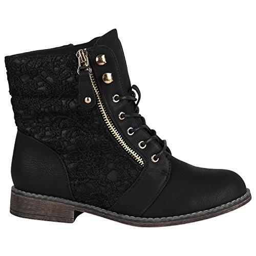 Gefütterte Damen Stiefeletten Worker Boots Zipper Schnürstiefel Schuhe 148835 Schwarz Spitze 38 EU Flandell (Große Füße Kostüm Schuhe)