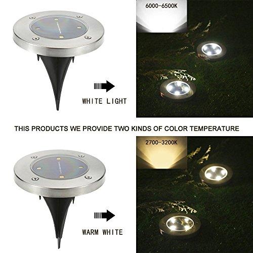 Tomshine 4pcs Solarbetriebene LED Bodeneinbauleuchte Außenleuchte Wasserdicht 4 LED 40LM Pfad Garten Landschaft Spike Beleuchtung für Hof Auffahrt Rasen Weiß / Warm Weiß - 6