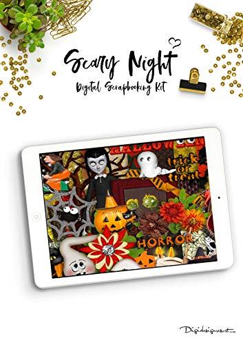 "(Halloween Digital Scrapbooking Kit ""Scary Night""   Halloween Scrapbooking: Preserve your Memories and scrapbook your Life (English Edition))"