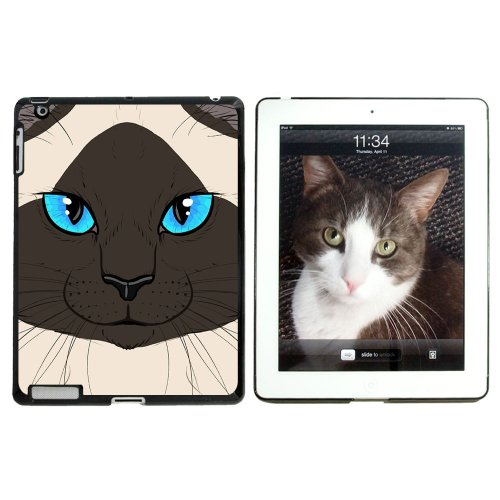 Siamesische Katze Gesicht, PET Kitty burmesische Himalaya-Seal Point – Snap on Hard Schutzhülle für Apple iPad 2 3 4 – Schwarz (Himalaya-katze Schwarz)