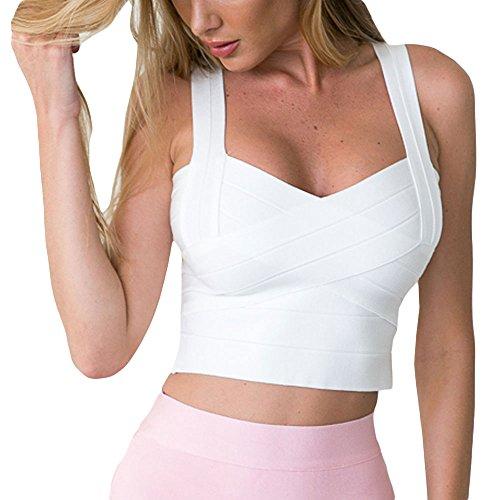 HLBandage Women's Sexy Knitted Elastic Bandage Vest Tops Bianco