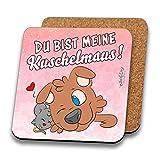 INWIEDU - Untersetzer Pilapets Hund Caruso mit Spruch: Du bist Meine Kuschelmaus! - MDF mit Kork Rückseite - Größe 95 x 95 x 3 mm