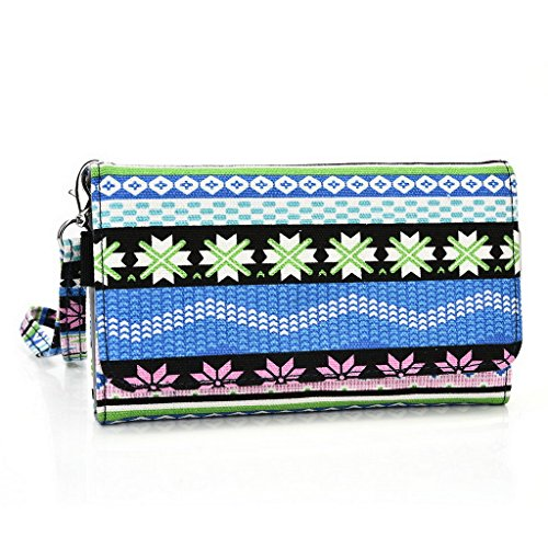 Kroo Téléphone portable Dragonne de transport étui avec porte-cartes pour Allview P5qmax Multicolore - vert Multicolore - bleu