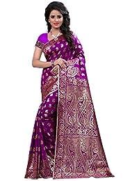 Anjali Enterprise Women's Cotton Silk Saree With Blouse Piece (Banarasi_1001_Purple, Purple, Free Size)