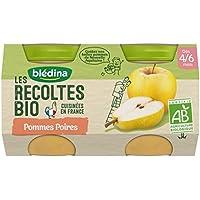 Blédina les Récoltes Bio 2 Petits Pots Pommes Poires 260 g -