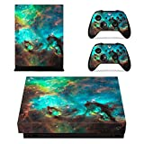 Xbox One X Skin Sticker, Morbuy Designfolie Vinyl-Folie Aufkleber für Konsole + 2 Controller Aufkleber Schutzfolie Set (Grünes Wunderland)