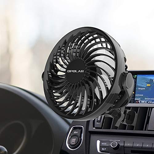 OPOLAR 2019 Neuer Mini-Autolüfter mit USB-Stromversorgung,  Mehrrichtungsklemme, 4 Geschwindigkeiten, 360-Grad-Drehung, USB Auto  Ventilator Ideal für