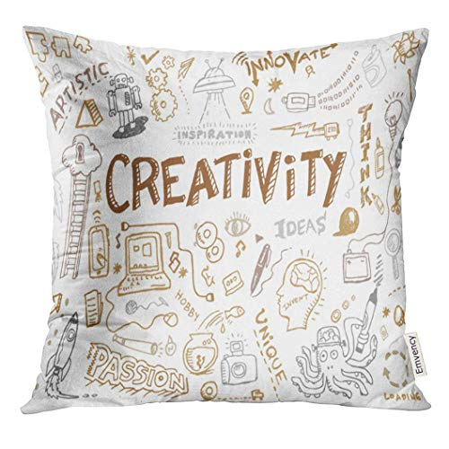 3daed5e437f Ntpclsuits Throw Pillow Cover Creative Creativity And Innovation Doodle  Collection Clip Sketch Decorative Pillow Case Home