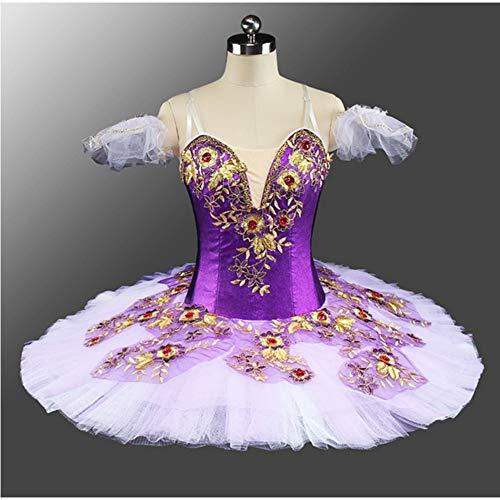 Ballett Kostüm Lila Fee - DILIKEXUE Lila Blume fee professionelle Ballett Tutu benutzerdefinierte Ballett kurzen Rock Wettbewerb kostüm Pettiskirt,XXL