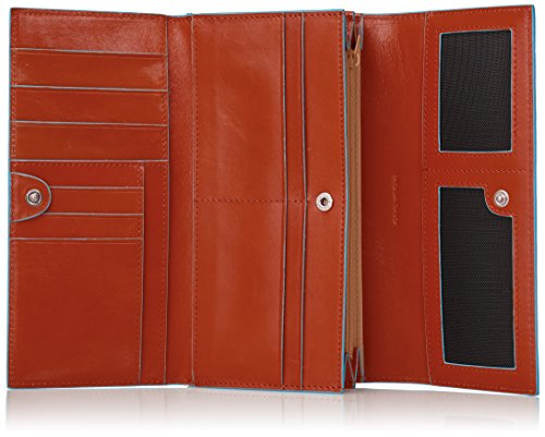 Piquadro PD3411B2/AR Blue Square Portafoglio, Arancione, 19 cm Arancione