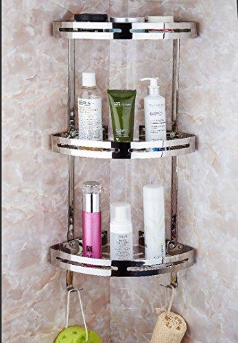 Teerfu, mensola angolare in acciaio inox 304da bagno, ideale per parete della doccia, scaffali in cucina, per ripiani, acciaio inossidabile, silver, 3 tier with hooks