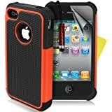 SUPERGETS® High Quality And Stylish Shock Prove Dual Layer Apple Iphone 4 4g 4s Protective Case Cover Includes Screen Protector And Polishing Cloth - Orange