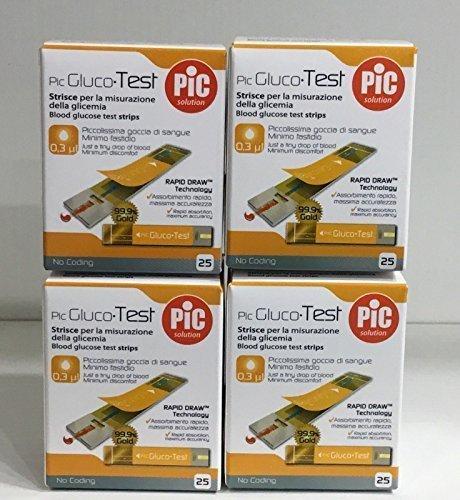 4 x pic gluco test - 100 strisce per il controllo della glicemia