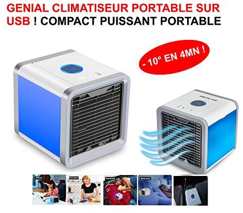 LE CLUB MECANIQUE Puissant CLIMATISEUR Compact sur USB ! -10° en 4MN ! Voiture 4X4 Camping-Car.CLIMATISEUR Ventilateur par BRUMISATION!