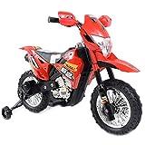 BAKAJI Moto Elettrica per Bambini con Rotelle Motore da 6V con Fari Funzionanti Luci e Suoni (Rosso)