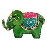 Münzbörse Echtes Leder Kleingelbeutel Elefant Schlüsselanhänger (grün)