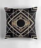 Hiaopp Art Deco, Vintage, 1920Era, The Great Gatsby, Gold, Schwarz, Muster, Elegant, Chic, Modern, Trendy Quadratisch Dekorativer Überwurf-Kissenbezug 45,7x 45,7cm
