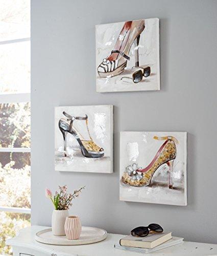 Bilder-Set-3-teilig-Lovely-Shoes-Leinwandbild-Schuhe-Handgemalt-je-ca-30-x-30-cm