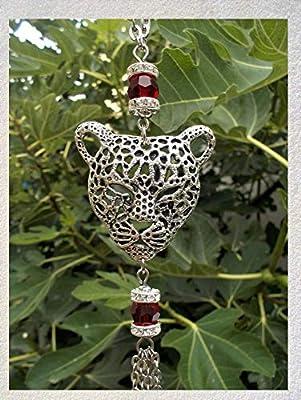 Pendentif tête de tigre argenté avec cristal Swarovski et pompon