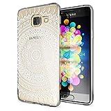 NALIA Handyhülle für Samsung Galaxy A3 2016, Slim Silikon Motiv Case Hülle Cover Crystal Schutzhülle Dünn Durchsichtig Etui Handy-Tasche Backcover Transparent Phone Bumper, Designs:Mandala Weiß