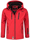 Marikoo Herren Softshell Funktions Outdoor Ski Regen Winter Jacke Sport B630 [B630-Noa-Rot-Gr.XL]