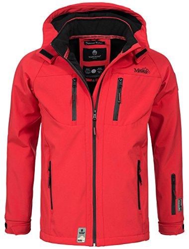 Marikoo Herren Softshell Funktions Outdoor Ski Regen Winter Jacke Sport B630 [B630-Noa-Rot-Gr.L]