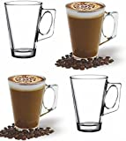 ANSIO® Latte Coffee Glass Cups - 390ml (13 oz) - Gift Box of 4 Latte Glasses - Perfect Gift for this Christmas