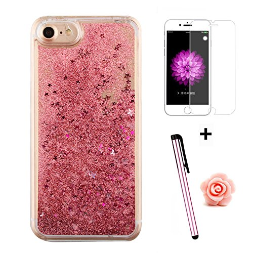 Custodia per iPhone 7 Case,Cover per iPhone 7,TOYYM - Love Heart Star Crystal Case Cover, Resistente Chiaro Trasparente [Bling Liquid] con divertente liquido flottante 3D con lussiosi glitter per iPho Color 33#