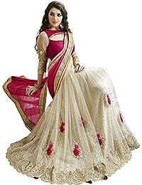 Online Bazaar Women's Net Saree With Blouse Piece
