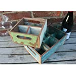 Life Arts Rustic Reclaimed Wood Bottle/Glass Crate Holder with Six compartments