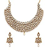 #3: Zaveri Pearls Jewellery Set for Women (Golden)(ZPFK4296)
