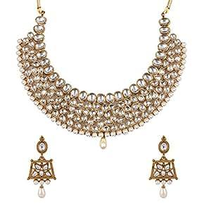 Zaveri Pearls Jewellery Set for Women (Golden)(ZPFK4296)