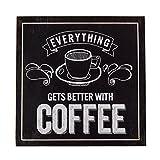 Hansmeier Kaffee Schild Holz - Wanddeko zum Aufhängen - 30 x 30 cm - Wandbild Küchendeko Home - Vintage Schilder - Coffee