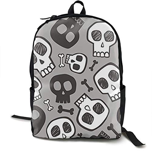 Schultaschen Schule Casual Backpck Large Capacity Multipurpose Anti-Theft Carry-On Bag Backpack for Hiking Outdoors Running - Skulls and Bones Halloween Boys Girls Student Gift Travel Daypack