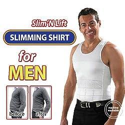 House of Quirk Mens Slim Vest Slim N Lift Innerware For Men-White(XL)