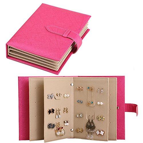 iSuperb® Orecchini Organizer Book Design gioielli viaggio supporto del vassoio di caso di stoccaggio per le ragazze regalo 7.3x5.5x1.8 pollici (Rosa)