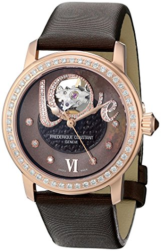 Frederique Constant Love Heart Beat FC310CLHB2PD4 35mm Diamonds Automatic Stainless Steel Case Brown Calfskin Anti-Reflective Sapphire Women's Watch