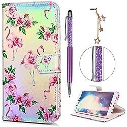 iAdvantec Huawei P Smart Hülle Case, Filp PU Leder Wallet Handyhülle Flipcase : Bookstyle Bunt Gemalt Tasche Brieftasche Schutzhülle in Flamingoblume + Stöpsel + Stylus