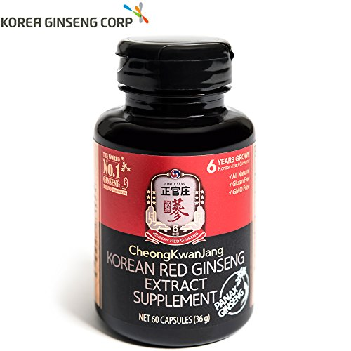 KGC Korean Panax Red Ginseng Extract Capsules – Immune System, Natural Energy Stamina, Antioxidants Healthy Memory Function, Blood Circulation, 60 Capsules