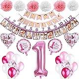PEIPONG 1. Geburtstag Dekorationen für Mädchen, Deko 1 Geburtstag, Mädchen Erst Geburtstag Deko mit Luftballons, Happy Birthday Banner, Geburtstag Girlande Foto Banner, Pompon Blumen