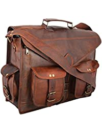 Krishna Leather Handmade Vintage Handmade Leather Messenger Bag For Laptop Briefcase Bags 18""